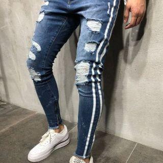 サイズが選べる ダメージデニム ダメージジーンズ ネイビー ブルー 青 紺