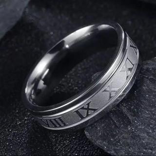 ローマ数字 6mm平打ちリング シルバー サージカルステンレス(リング(指輪))