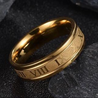 ローマ数字 6mm平打ちリング ゴールド サージカルステンレス(リング(指輪))