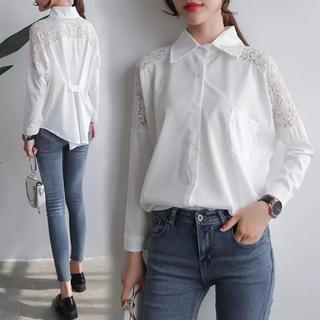 e768d7fc79c53 ザラ(ZARA)のレースブラウス レースシャツ シフォンシャツ デザインシャツ ホワイト (シャツ