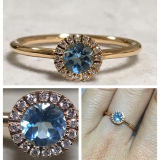 K18PG ブルートパーズとダイヤモンドのリング