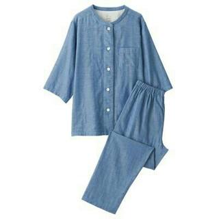 MUJI (無印良品) - 無印良品  脇に縫い目のない細番手二重ガーゼ七分袖パジャマ