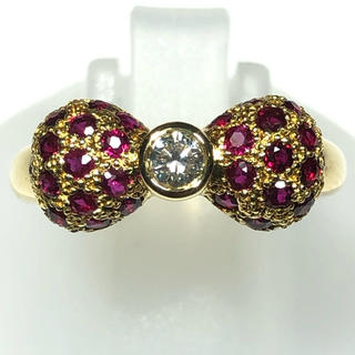 k18yg 18金 ルビー ダイヤモンド リボン りぼん モチーフ リング 指輪(リング(指輪))
