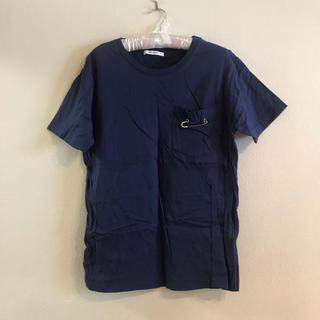 マウジー(moussy)のMOUSSY デザイン Tシャツ 半袖 紺色(Tシャツ(半袖/袖なし))