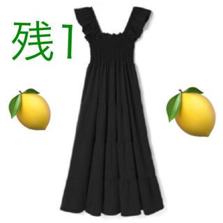 snidel - ♡タイムセール早い者勝ち♡黒 ラッフル袖 シャーリング マキシワンピース♡残1