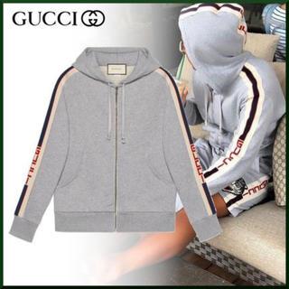 グッチ(Gucci)のGUCCI 25%off定価14.6万 ストライプジップスウェットパーカー(パーカー)