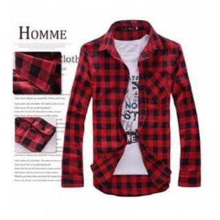 チェックシャツ バイカー 長袖 メンズ レッド 赤 Mサイズ アメカジ(シャツ)
