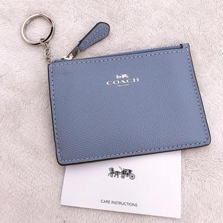COACH - 新品COACH キーリング付きパスケース  ブルー