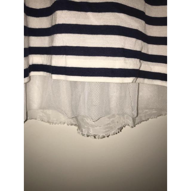 sacai luck(サカイラック)のサカイラック sacai luck バック切替カットソー 袖フリル 2 ボーダー レディースのトップス(Tシャツ(半袖/袖なし))の商品写真