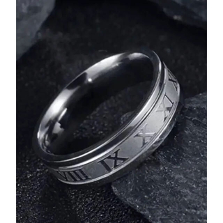新品 ローマ数字 サージカル ステンレス指輪☆シルバーリング 14号(リング(指輪))