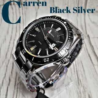 【海外限定】CarrenBlacksilver  腕時計 ウォッチ ブラック