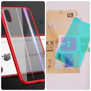 iPhone8ケース レッド 最新式 スカイケース 保護フィルム付 バンパー(iPhoneケース)