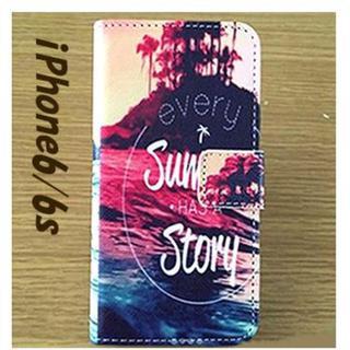 新品!iPhone6/6s 手帳型 アイフォンケース Summer Story(iPhoneケース)