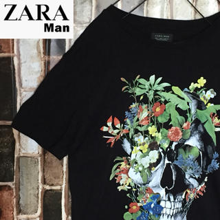 ZARA - 【激レア】ザラ マン Tシャツ 人気の定番ブラックカラー☆目立つドクロ花柄☆