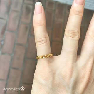 1号サイズ ステンレス製 イエローゴールド 4面カット小豆チェーンリング(リング(指輪))