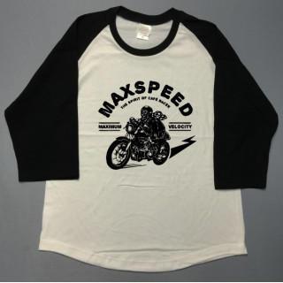 バイカー☆MAXSPEED☆モーターサイクル☆七分袖ラグランutn319(Tシャツ/カットソー(七分/長袖))