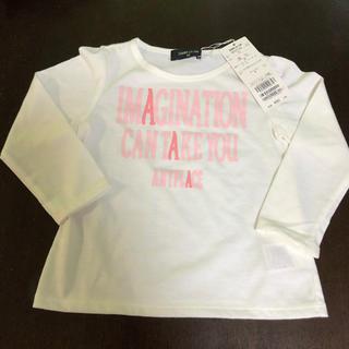 コムサイズム(COMME CA ISM)の90サイズ コムサ ロンティー 白 ピンク ロゴ(Tシャツ/カットソー)