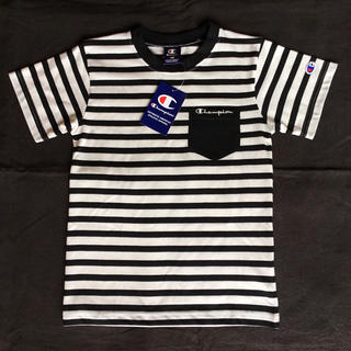 チャンピオン(Champion)の【新品】チャンピオン 半袖 ポケット付きTシャツ 黒ボーダー 140(Tシャツ/カットソー)
