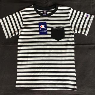チャンピオン(Champion)の【新品】チャンピオン 半袖 ポケット付きTシャツ 黒ボーダー 150(Tシャツ/カットソー)