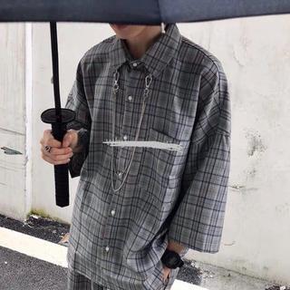 韓国ファッション メンズ セットアップ シャツ ハーフパンツ モード ストリー
