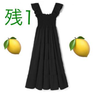snidel - ♡タイムセール早い者勝ち♡黒 ラッフル袖 シャーリング マキシワンピース♡フリル