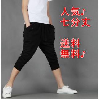 人気♪ スウェット パンツ 七分丈  ハーフパンツ メンズ レディース L 黒(ショートパンツ)