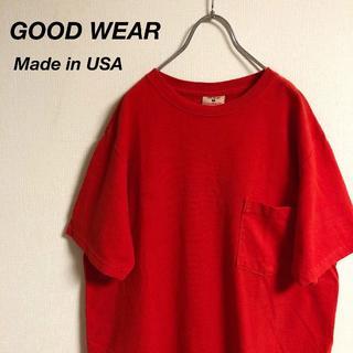 USA製 GOODWEAR グッドウェア ポケットTシャツ レッド(Tシャツ/カットソー(半袖/袖なし))