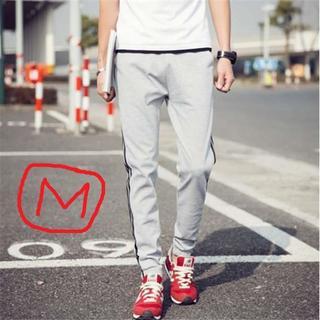 メンズ スウェットパンツ スキニージャージ 3本線 グレー 灰色 Mサイズ(その他)