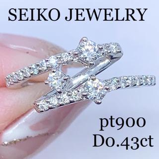 DE BEERS - セイコージュエリー pt900  ダイヤモンドデザインリング0.43ct 高品質