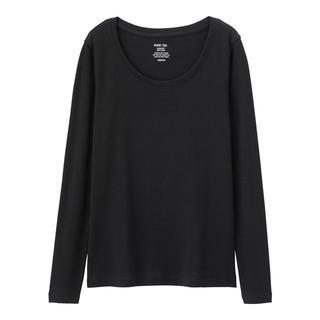 ジーユー(GU)の新品タグ付き XLブラック 長袖クルーネックTシャツ 綿100% 匿名配送(シャツ/ブラウス(半袖/袖なし))