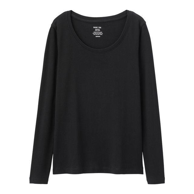 GU(ジーユー)の新品タグ付き Lブラック 長袖クルーネックTシャツ 綿100% 匿名配送 レディースのトップス(Tシャツ(長袖/七分))の商品写真