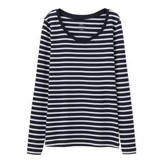 ジーユー(GU)の新品タグ付き Mネイビーボーダー 長袖クルーネックTシャツ 綿100% 匿名配送(Tシャツ(長袖/七分))