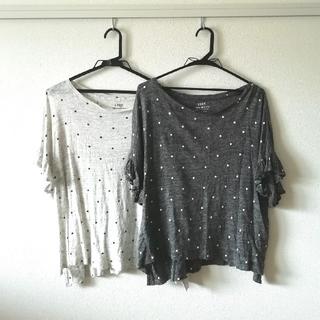 コーエン(coen)のcoen フレンチリネンドットプリントフリルスリーブTシャツ(Tシャツ(半袖/袖なし))