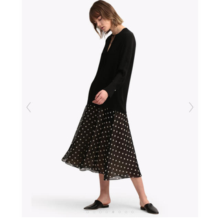 theory - theory Polka Dot Silk Volume Skirt FL 美品
