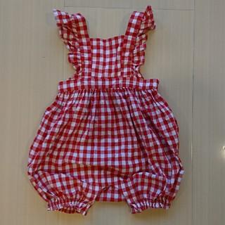 ベビーギャップ(babyGAP)のGAP ロンパース 肩フリル ギンガムチェック 赤色 12-18month(ロンパース)