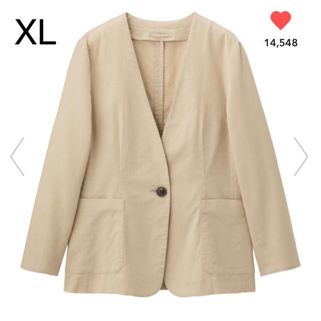 GU(ジーユー)のGU リネンブレンドノーカラージャケット ベージュ XL レディースのジャケット/アウター(ノーカラージャケット)の商品写真