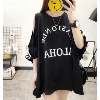 オフショルダー ロゴTシャツ com(Tシャツ(半袖/袖なし))
