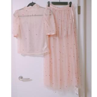 Lily Brown - リリーブラウン🌙パール付きチュールトップス パール付チュールスカート