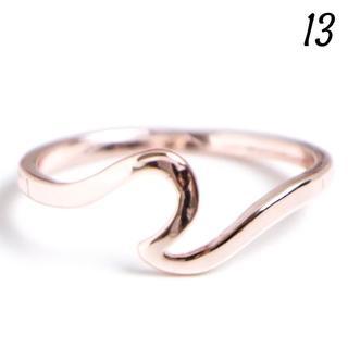 V3 ウェーブリング 13号 シンプル ローズゴールド レディース 華奢(リング(指輪))