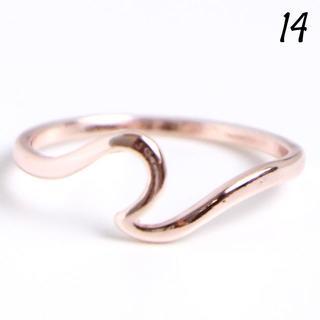 V5 ウェーブリング 14号 シンプル ローズゴールド レディース 華奢(リング(指輪))