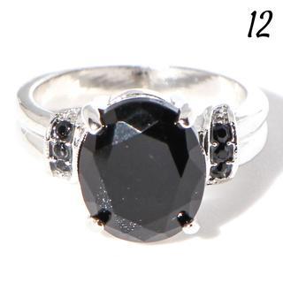 W5 リング 12号 人工石 ブラック オーバル 大粒 クール(リング(指輪))