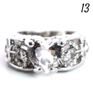 W9 リング 13号 人工石 ホワイトサファイア ハート フェザー (リング(指輪))