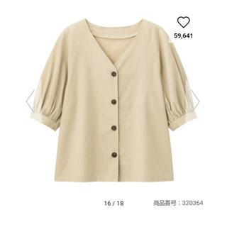 ジーユー(GU)のリネンブレンドフロントボタンブラウス gu ベージュ Mサイズ(シャツ/ブラウス(半袖/袖なし))