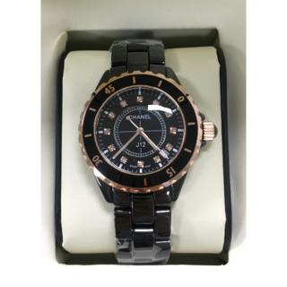 CHANEL - 超人気 レディース メンズ 黒金 白金 セラミック 腕時計