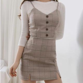 GOGOSING - 送料無料(新品)ビュスチェ&チェックツーピース 2セット ブラウン 韓国 洋服