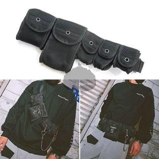 YGG★人気 マシンガン バッグ 5連 ショルダー チェストバック 黒 ブラック