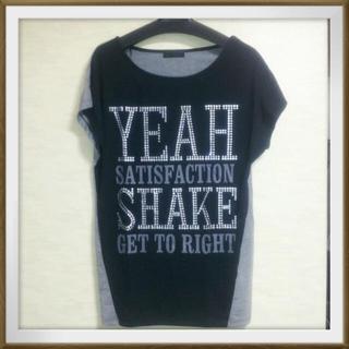 size L  ブラック×グレー☆(Tシャツ(半袖/袖なし))