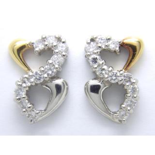 プラチナ K18 ダイヤモンド 0.32ct ピアス