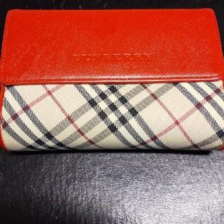 BURBERRY - バーバリー赤色ノバチェック折り財布