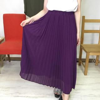 プリーツシフォンロングスカート 紫